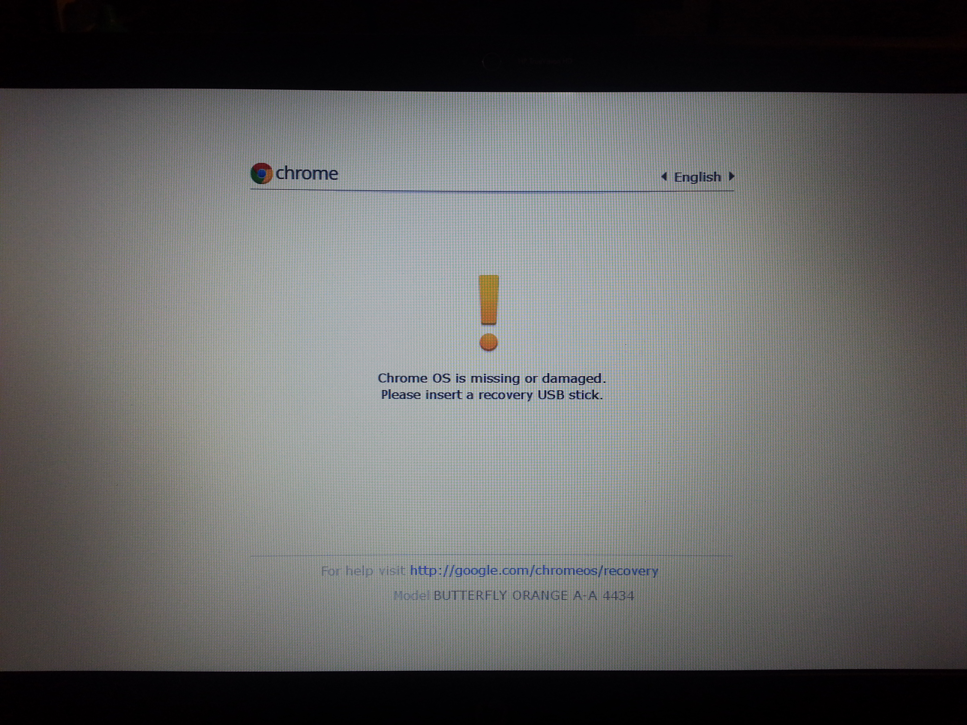 Screen warning Chrome OS disk is missing or damaged
